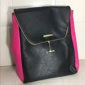 Juicy couture pink and black leather backpack
